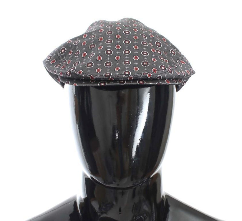 Gray Baroque Cotton Newsboy Hat
