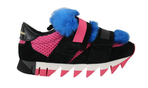 Black Leather Blue Fur Shoes Sneakers