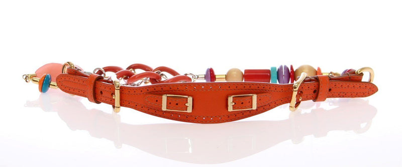 Multicolor Leather Metal Plastic Logo Belt