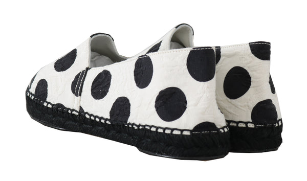 White Polka Dot Espadrille Brocade Shoes