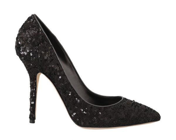 Black Sequined Leather Pumps Heels