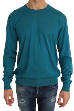 Blue Silk Pullover Crewneck Top