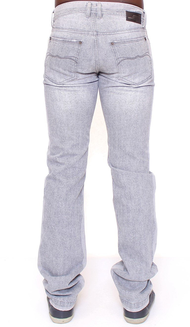Gray Straight Pattern POWER Logo Jeans