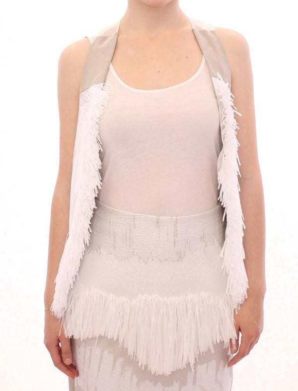White Lashes Open Back Vest Jacket