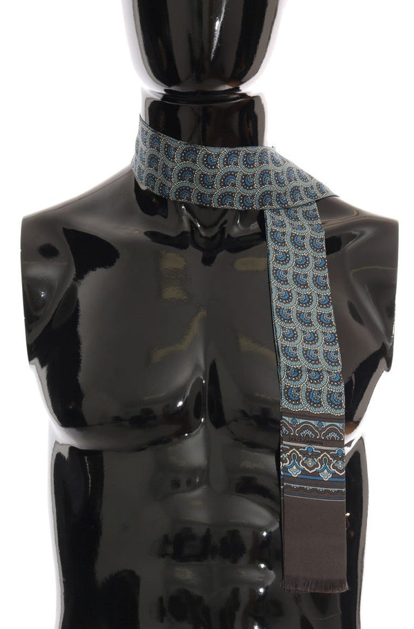 Gray Silk Blue Pattern Scarf
