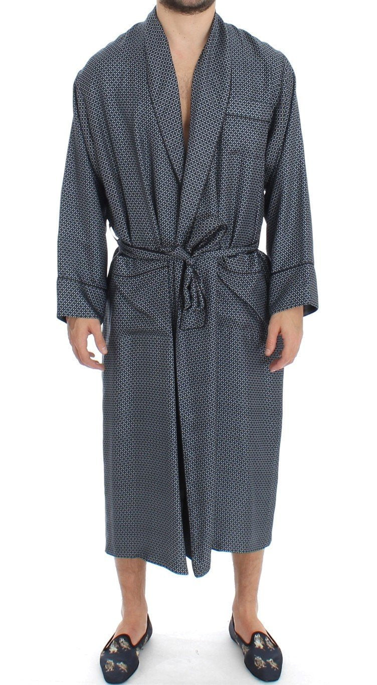 Blue Geometrical Print SILK Robe