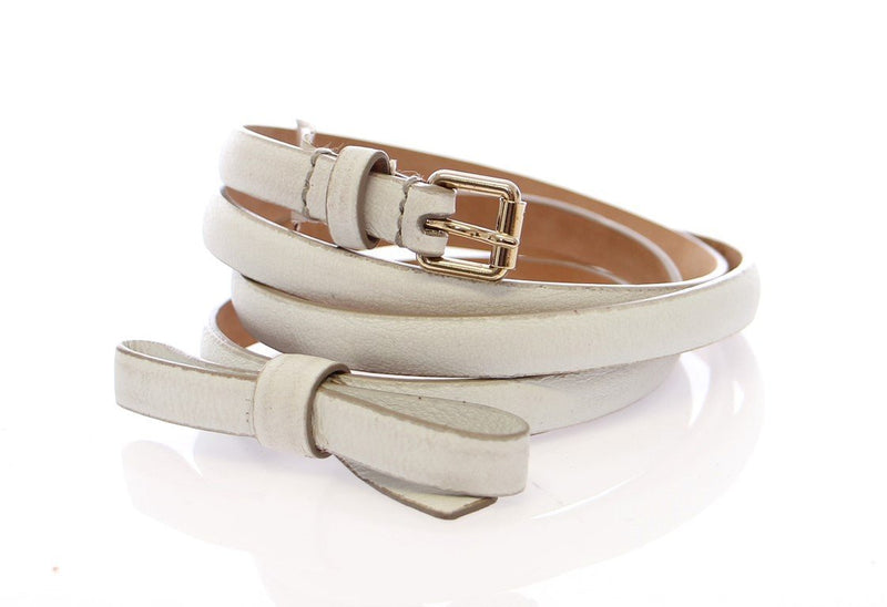 White Leather Logo Belt