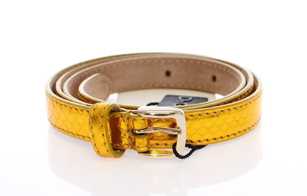 Yellow Snakeskin Logo Belt