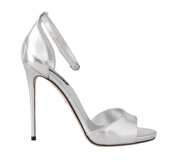 Silver Shiny Leather Stiletto Sandals