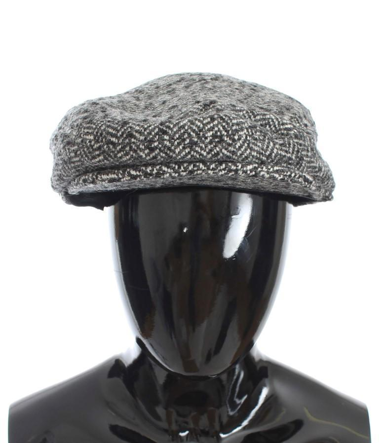 Gray Tweed Wool Newsboy Hat
