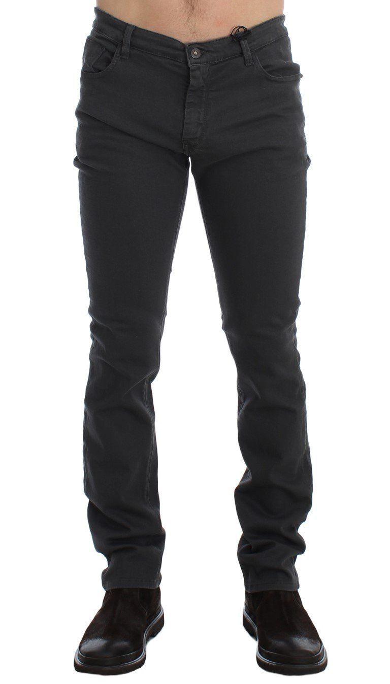 Gray Slim Fit Cotton Stretch Pants Jeans