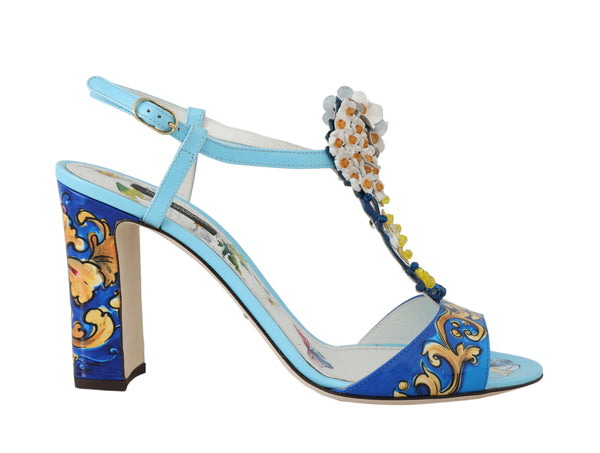 Blue Leather Majolica Crystal Sandals