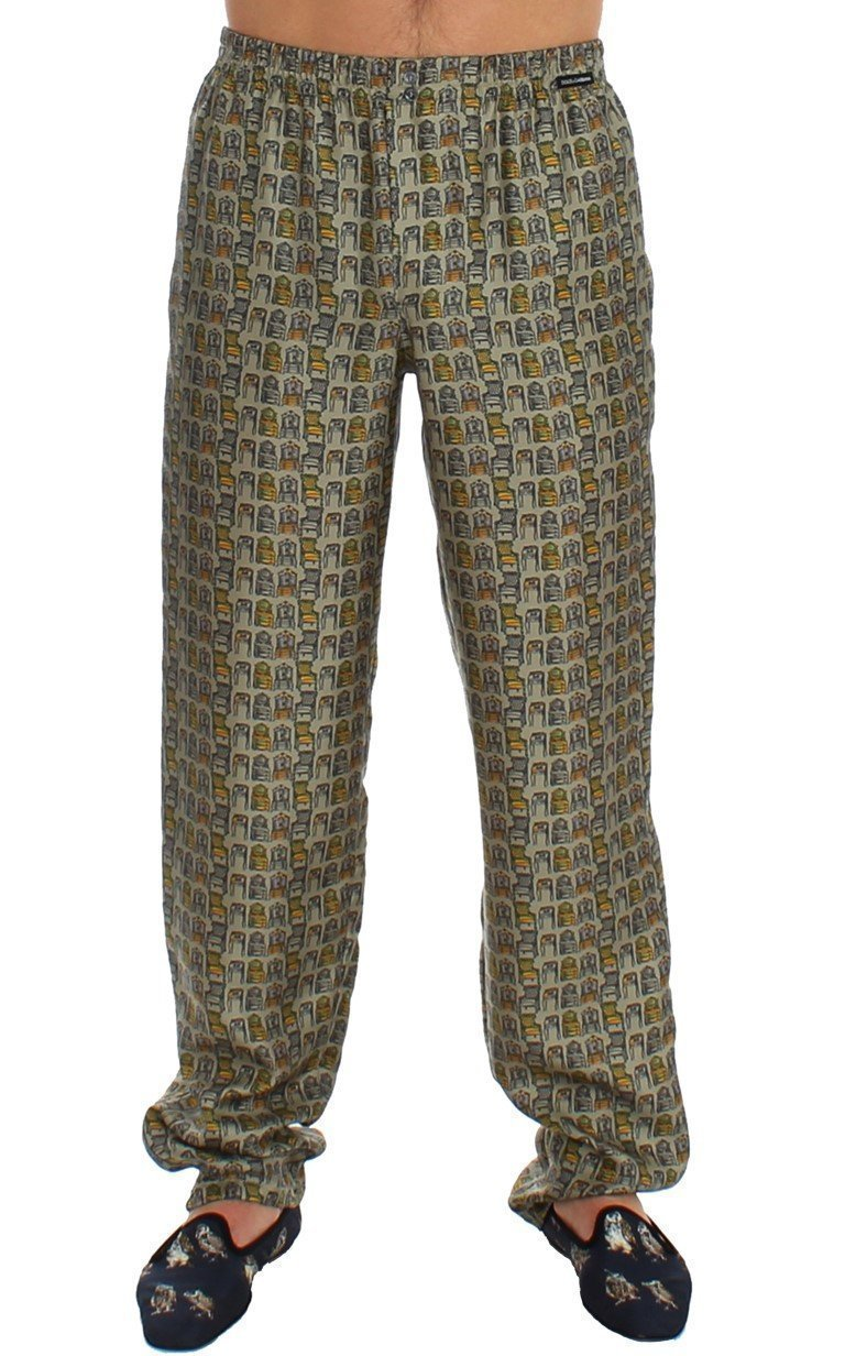 Green SILK Pajama Lounge Pants