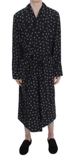 Black Skull Print Silk Sleepwear Robe