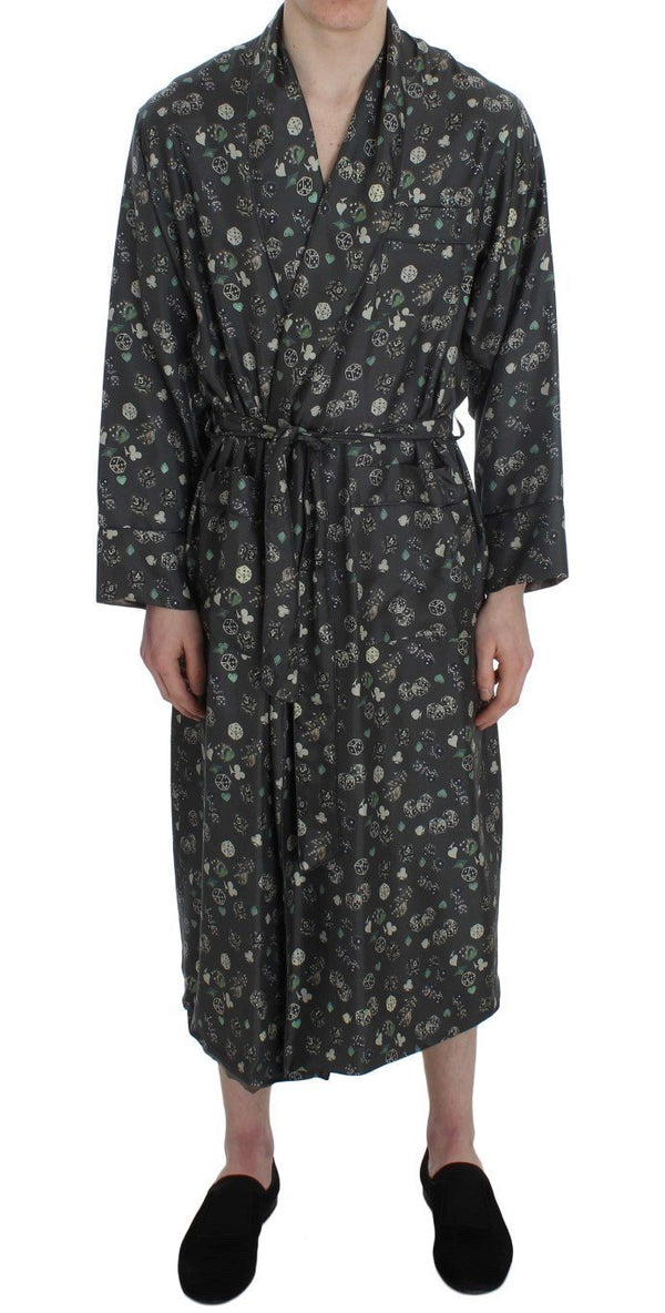Green Dice Card Print Silk Sleepwear Robe
