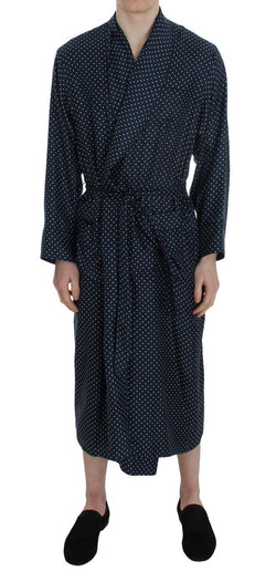 Blue Polka Dotted Silk Sleepwear Robe