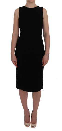 Black Stretch Crystal Sheath Dress