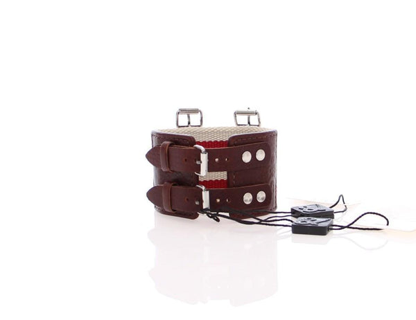 Brown Leather Strap Metal Cuff Bracelet