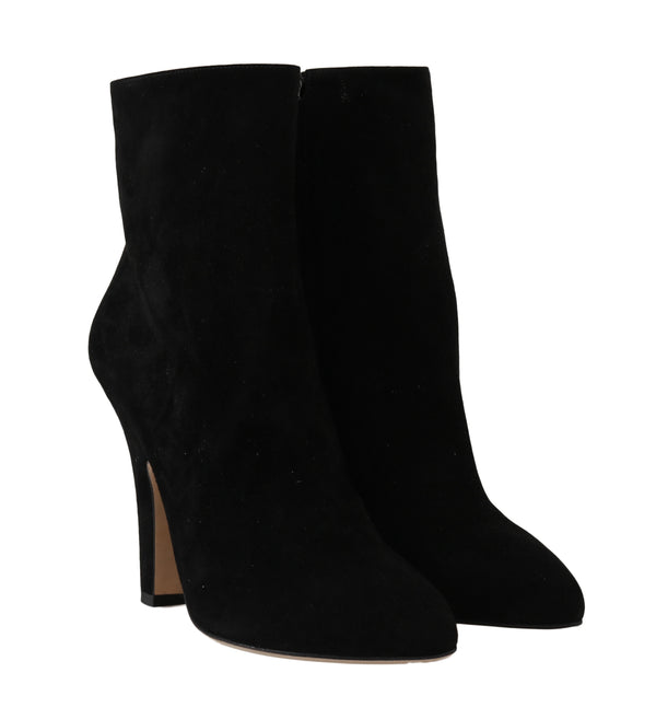 Black Suede Heels Zipper Boots