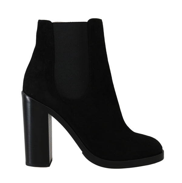 Black Leather Chelsea Heels Boots