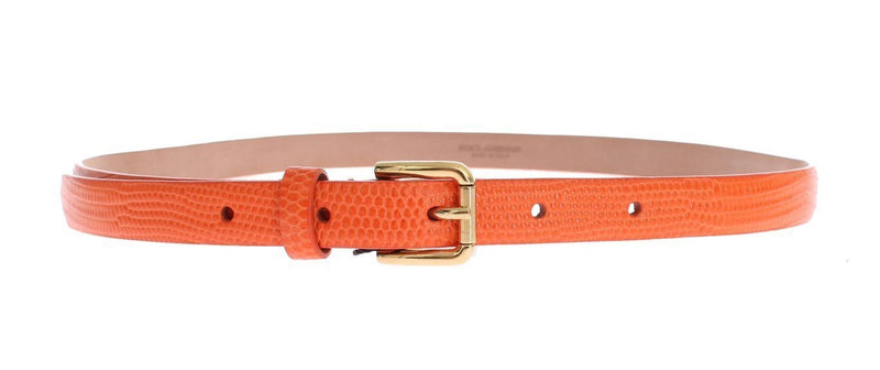 Orange Snakeskin Gold Buckle Logo Waist Belt