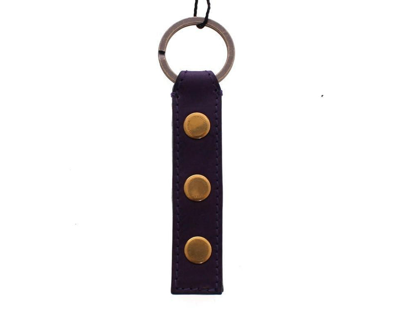 Purple Leather Metal Keychain Keyring