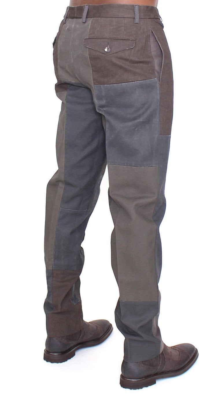 Brown Gray Patchwork Slimfit Pants Chinos