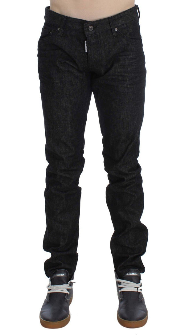 Black Cotton Stretch Denim Slim jeans