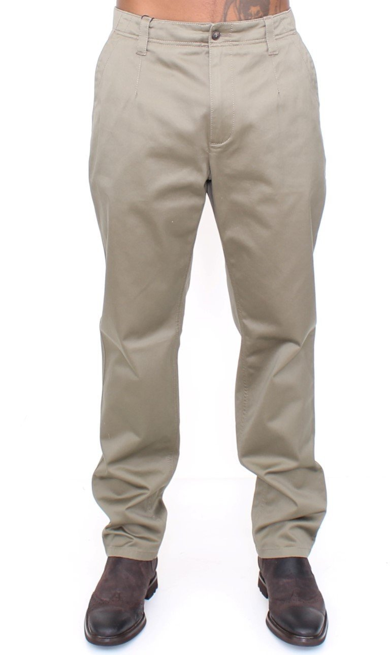 Green Cotton Slim Fit Chinos Pants