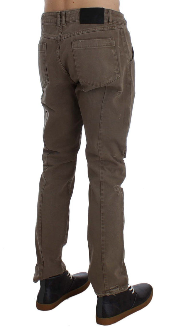 Beige Cotton Slim Fit Jeans