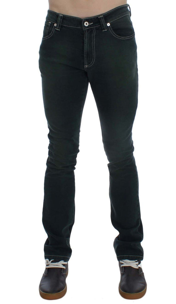 Green Stretch Cotton Slim Fit Jeans