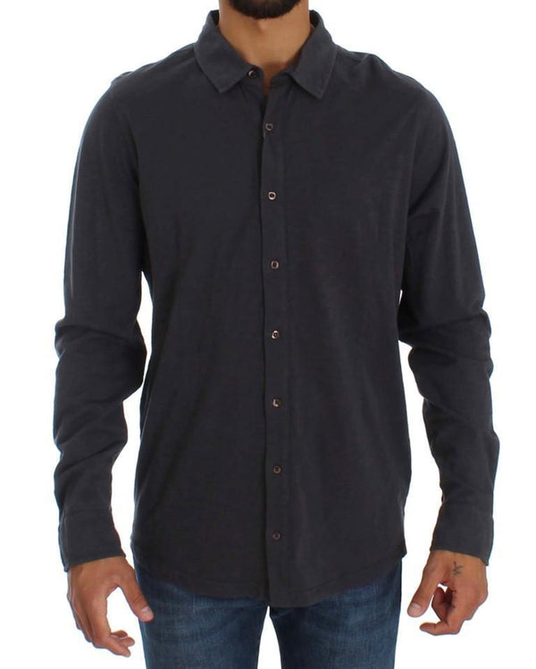 Gray Cotton Button Down Casual Shirt