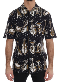 Black Cotton JAZZ Motive Short Sleeve Shirt