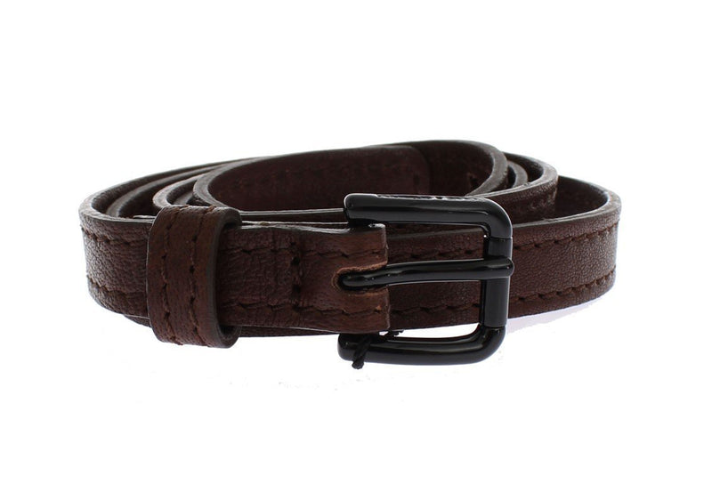 Brown Leather Black Buckle Logo Belt