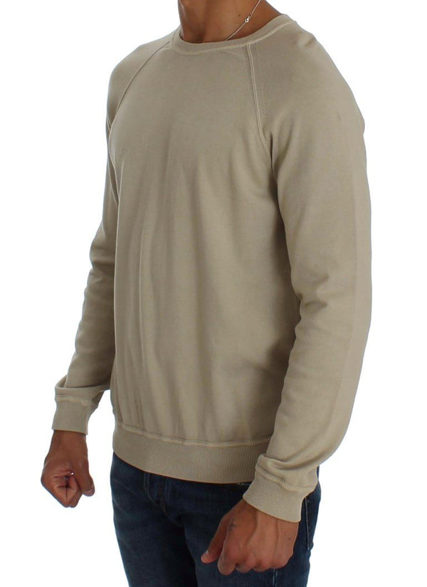 Beige Cotton Crew-neck Pullover Sweater