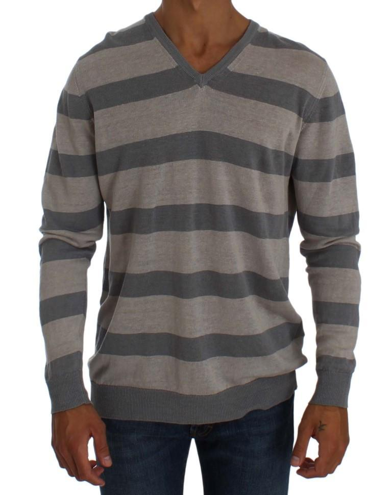Purple Striped V-neck Pullover Sweater