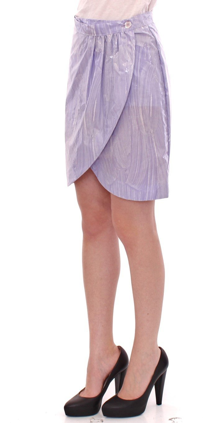 Purple Viscose Above-Knee Wrap Skirt