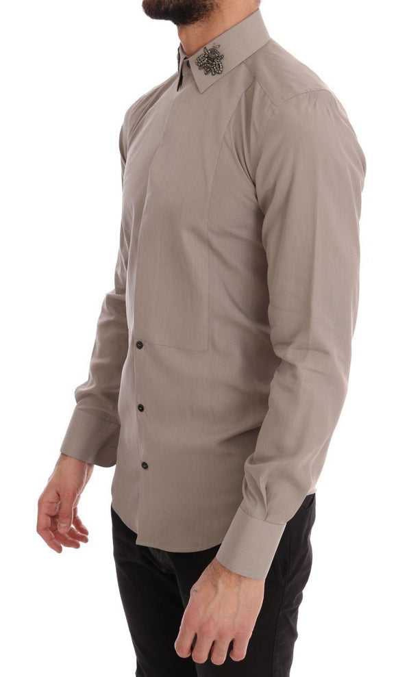 Beige Crystal Bee GOLD SLIM Fit Shirt