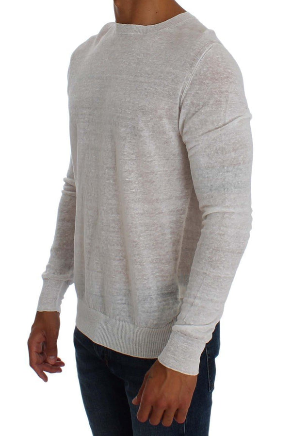 White Linen Crewneck Long Sleeve Sweater