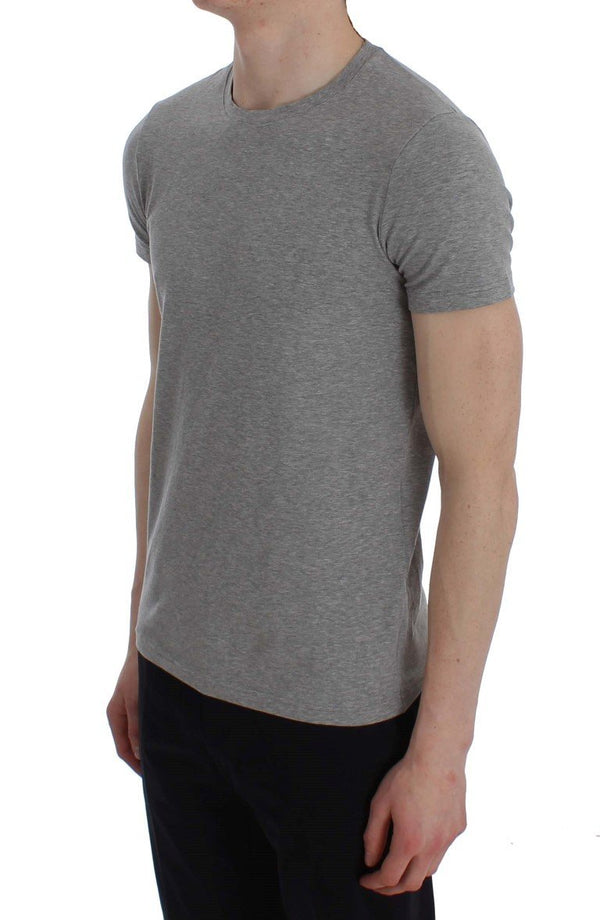 Gray Cotton Stretch Crew-neck Underwear T-shirt