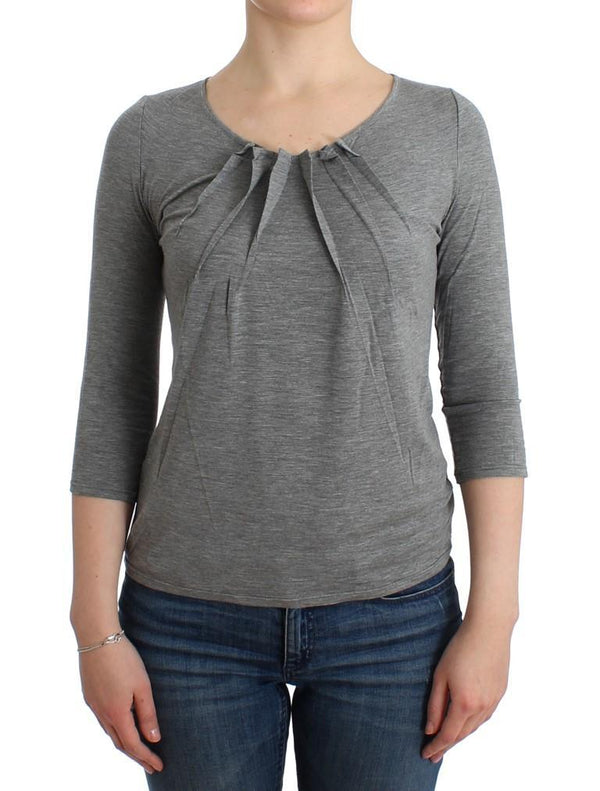 Gray 3/4 sleeves jumper top