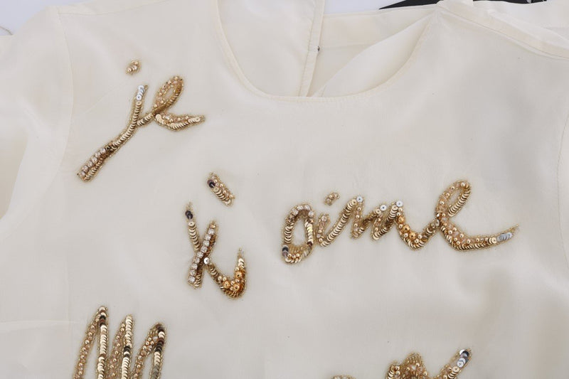 White Crystal Je t'aime Maman Sequined Blouse