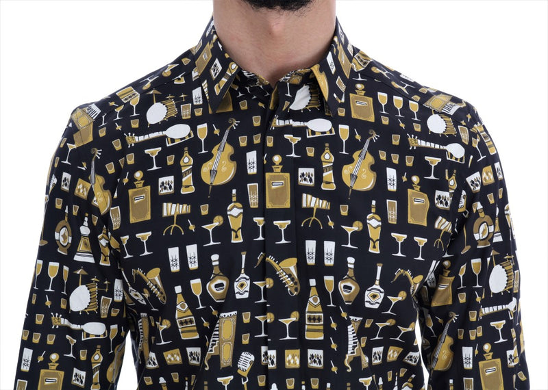 Black Slim Fit GOLD Jazz Shirt