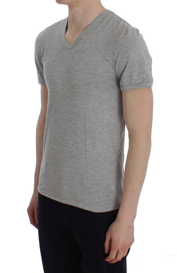 Gray Modal Stretch V-neck Underwear T-shirt