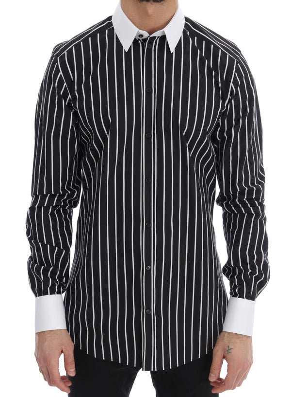 Black White Striped GOLD Slim Fit Shirt
