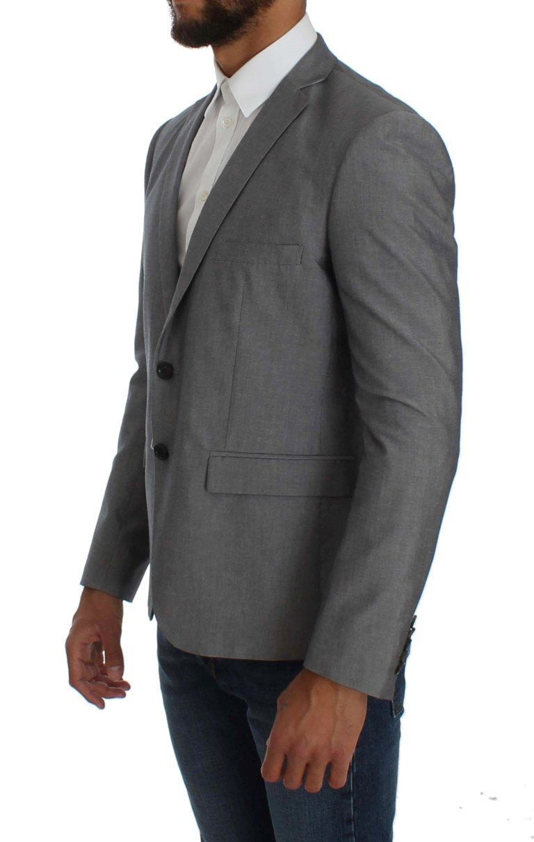 Gray Regular Fit Wool Blend Blazer Jacket
