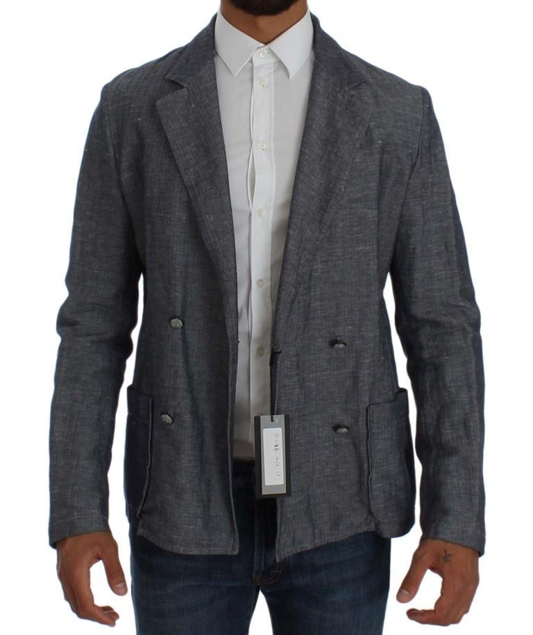 Blue Double Breasted Regular Fit Blazer