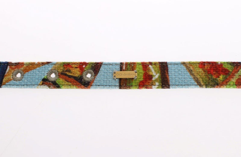 Floral Print Fabric Gold Buckle Logo Belt