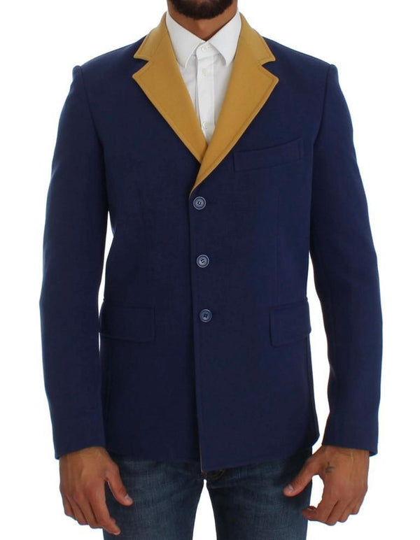 Blue Three Button Blazer Jacket