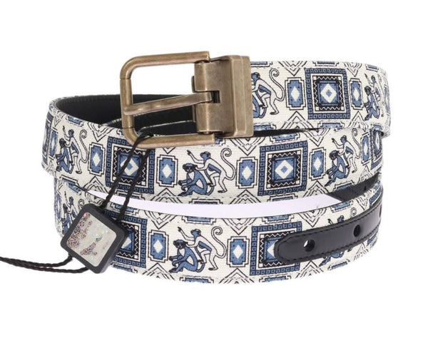 White Blue Denim Majolica Leather Belt